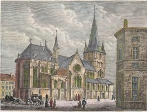 Gravue sur bois 1880 Eglise Saint-Jacques . Tournai
