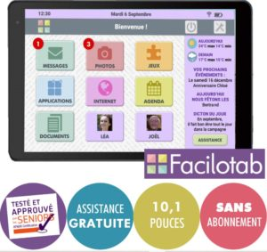 TABLETTE FACILOTAB L – WIFI – 16 GO – ANDROID 8 – MARQUE ALCATEL – INTERFACE SIMPLIFIÉE POUR SENIORS